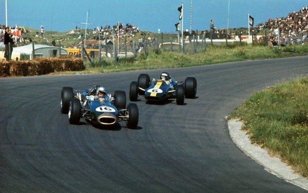 Race winner Jack Brabham (AUS) Brabham BT19 leads 3rd place Jim Clark (GBR) Lotus 33.Dutch Grand Prix, Zandvoort, Holland, 24 JUly 1966