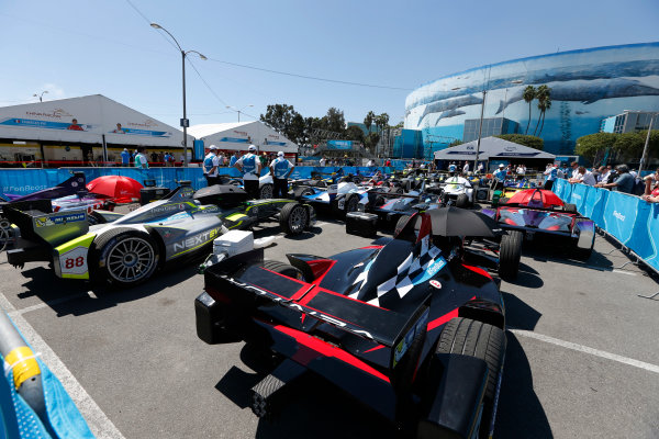 2014/2015 FIA Formula E Championship. Long Beach ePrix, Long Beach, California, United States of America. Saturday 4 April 2015 Parc Ferme. Photo: Zak Mauger/LAT/Formula E ref: Digital Image _L0U7849