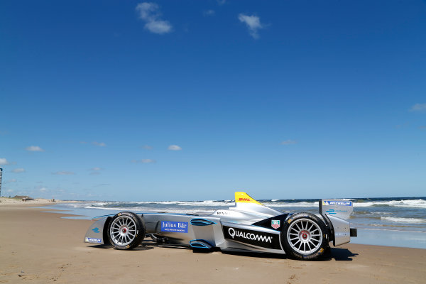 FIA Formula E Test Day. Formula E Car on the beach. Punta Del Este, Uruguay, South America. Formula E Third Race Event, 11th - 14th December 2014. Sunday 14 December 2014.  Photo: Adam Warner/LAT/FE ref: Digital Image _L5R5054