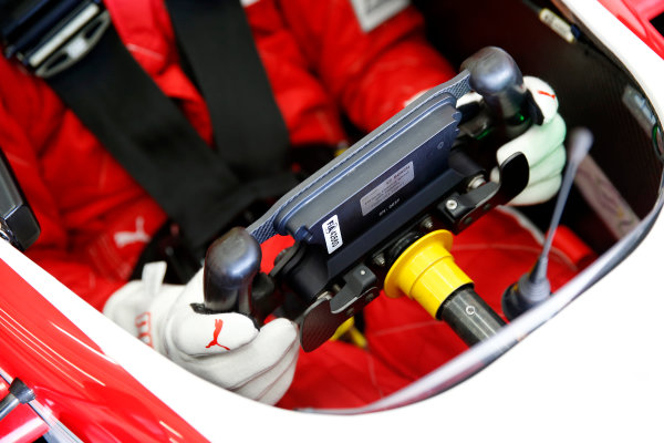 2015 FIA Formula 3 European Championship Testing. Circuit de Valencia, Valencia, Spain. Tuesday 17 March 2015. Steering wheel of 25 Lance Stroll (CAN, Prema Powerteam, Dallara F312 – Mercedes-Benz) Photo: FIA F3 (Copyright Free For Editorial Use Only)