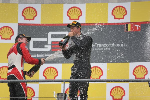 2013 GP3 Series. Round 6.  Spa - Francorchamps, Spa, Belgium. 25th August. Sunday Race. Alexander Sims (GBR, Carlin) celebrates his victory on the podium.  World Copyright: Sam Bloxham/GP3 Media Service. ref: Digital Image BH2I9650.jpg