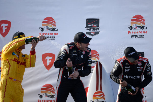 28-30 March, 2014, St Petersburg, Florida, USA Ryan Hunter-Reay, Will Power, Helio Castroneves @2014, Richard Dole LAT Photo USA