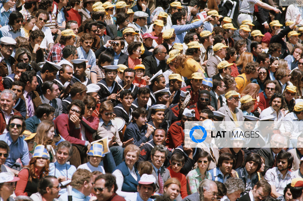 1973 Spanish Grand Prix.  Montjuich Park, Barcelona, Spain. 27-29th April 1973.  Spectators in the grandstand, including Brazil Navy band members.  Ref: 73ESP18. World Copyright: LAT Photographic
