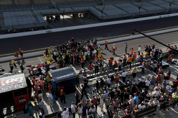 8-10 May, 2014, Indianapolis, Indiana, USA Overview of victory lane as the media surround Simon Pagenaud after his win ©2014 Scott R LePage  LAT Photo USA