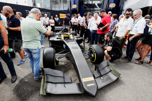 Autodromo Nazionale di Monza, Italy. Thursday 31 August 2017 The new 2018 F2 car is unveiled in the paddock. Photo: Zak Mauger/FIA Formula 2 ref: Digital Image _56I5298