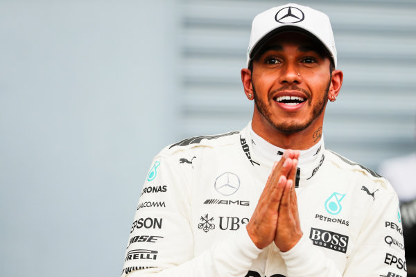 Autodromo Nazionale di Monza, Italy. Saturday 02 September 2017. Lewis Hamilton, Mercedes AMG, after securing a record breaking 69th pole position. World Copyright: Zak Mauger/LAT Images  ref: Digital Image _56I7715