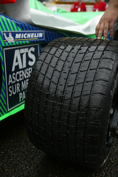 2003 Le Mans 24 HoursLe Mans, France. 13th June 2003Wet weather tyres are readied.World Copyright: Jon Tingle/LAT Photographicref: Digital Image Only