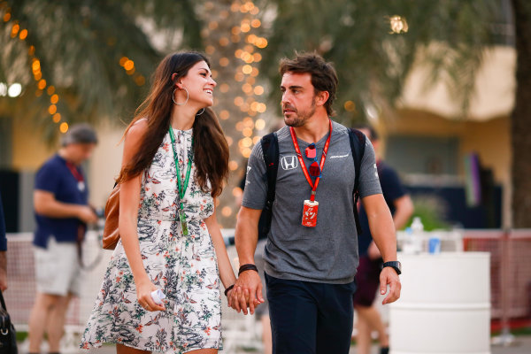 Bahrain International Circuit, Sakhir, Bahrain.  Thursday 13 April 2017. Fernando Alonso, McLaren, in the paddock with girlfriend Linda Morselli. World Copyright: Andy Hone/LAT Images ref: Digital Image _ONZ7271