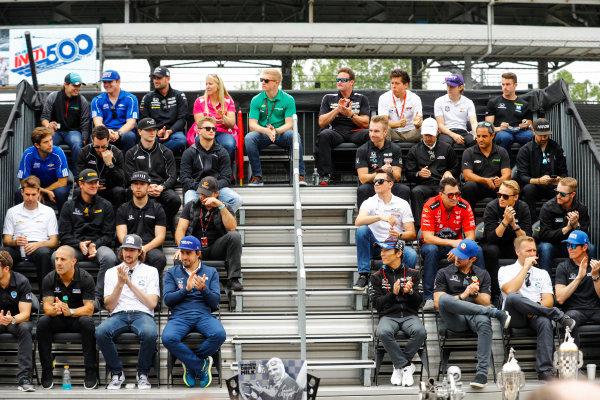 Verizon IndyCar Series Indianapolis 500 Drivers Meeting Indianapolis Motor Speedway, Indianapolis, IN USA Saturday 27 May 2017 Fernando Alonso, McLaren-Honda-Andretti Honda, appears at the drivers photo. World Copyright: Steve Tee/LAT Images ref: Digital Image _R3I6680