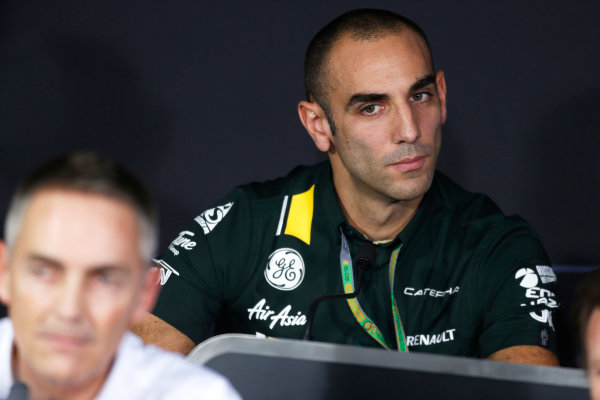 2012 Indian Grand Prix - Friday Buddh International Circuit, New Delhi, India. 26th October 2012. Cyril Abiteboul, CEO, Caterham F1 Team, in the Press Conference.  World Copyright:Andrew Ferraro/LAT Photographic ref: Digital Image _79P8495