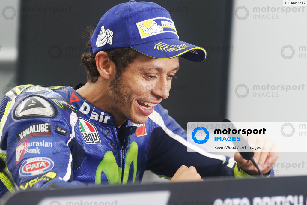 2016 MotoGP Championship.  British Grand Prix.  Silverstone, England. 2nd - 4th September 2016.  Valentino Rossi, Yamaha.  Ref: _W7_9696a. World copyright: Kevin Wood/LAT Photographic