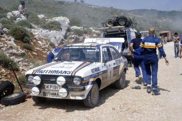 1981 World Rally Championship.Acropolis Rally, Greece. 1-4 June 1981.Ari Vatanen/David Richards (Ford Escort RS1800), 1st position, in service.World Copyright: LAT PhotographicRef: 35mm transparency 81RALLY27