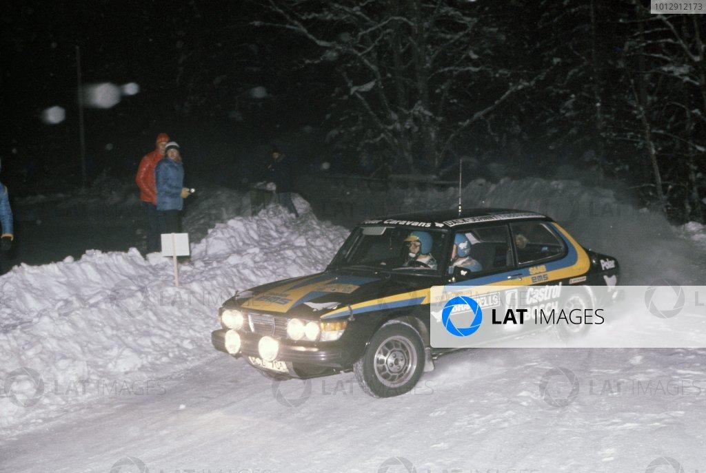 1977 World Rally Championship.Swedish Rally, Sweden. 11-13 February 1977.Stig Blomqvist/Hans Sylvan (Saab 99EMS), 1st position.World Copyright: LAT PhotographicRef: 35mm transparency 77RALLY02