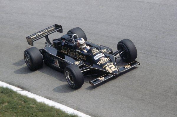 1981 Italian Grand PrixMonza, Italy. 11-13 September 1981.Nigel Mansell (Lotus 87-Ford Cosworth), retired. Ref - 81ITA13.World Copyright - LAT Photographic