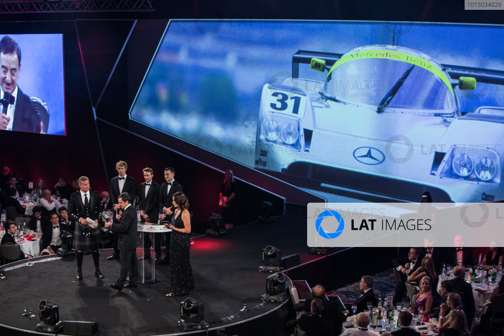 2017 Autosport Awards Grosvenor House Hotel, Park Lane, London. Sunday 3 December 2017. WEC Champions Brendon Hartley, Timo Bernhard and Earl Bamber present the John Bolster award to Pierre Fillon on behalf of the Automobile Club de l'Ouest. World Copyright: Joe Portlock/LAT Images  ref: Digital Image _L5R8943