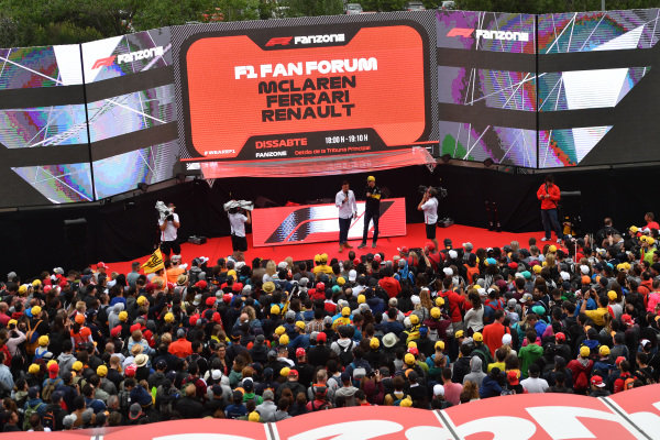 Will Buxton (GBR) FOM TV Presenter and Nico Hulkenberg (GER) Renault Sport F1 Team on the Fanzone stage