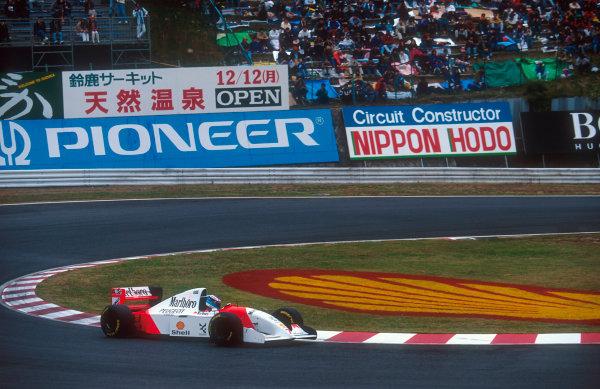 Suzuka, Japan. 4th - 6th November 1994. Mika Hakkinen (McLaren MP4/9 Peugeot) 7th position. Ref-94 JAP 15. World Copyright - LAT Photographic