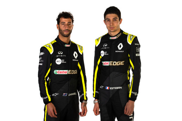 (L to R): Daniel Ricciardo (AUS) Renault F1 Team with team mate Esteban Ocon (FRA) Renault F1 Team. Copyright: James Moy/XPB/Renault F1
