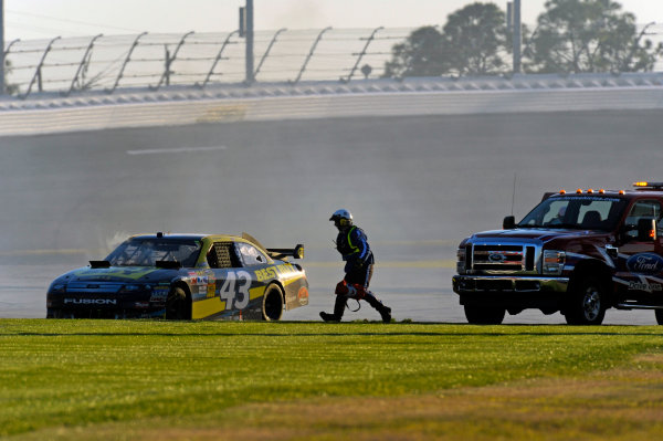 14 February, 2010, Daytona Beach, Florida USA USAA J. Allmendinger (#43) comes to a rest after spinning on the back straight.©F. Peirce Williams 2010 USALAT Photographic