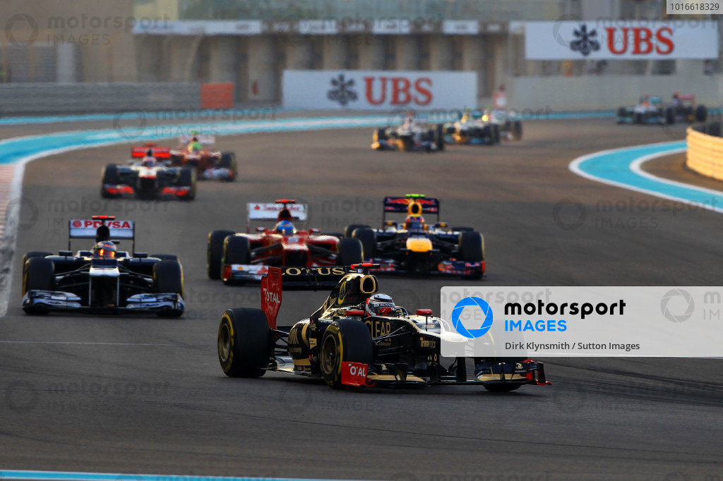 Kimi Raikkonen (FIN) Lotus E20 at the start of the race. Formula One World Championship, Rd18, Abu Dhabi Grand Prix, Race, Yas Marina Circuit, Abu Dhabi, UAE, Sunday 4 November 2012. BEST IMAGE