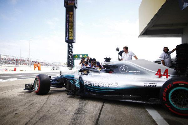 Lewis Hamilton, Mercedes AMG F1 W09, exits the pit lane.