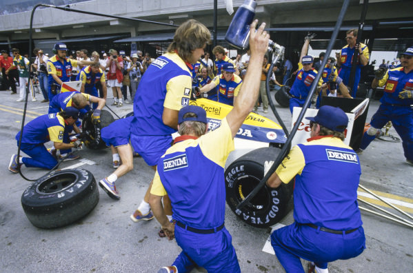 A Williams FW11 Honda, during a pitstop.
