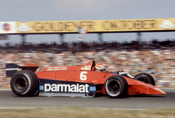 1979 German Grand Prix.Hockenheim, Germany.27-29 July 1979.Nelson Piquet (Brabham BT48 Alfa Romeo) 12th position. Ref-79 GER 20.World Copyright - LAT Photographic