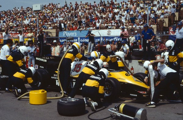 1983 Canadian Grand Prix.Montreal, Quebec, Canada.10-12 June 1983.Alain Prost (Renault RE40) takes a pitstop on the way to 5th position.Ref-83 CAN 02.World Copyright - LAT Photographic