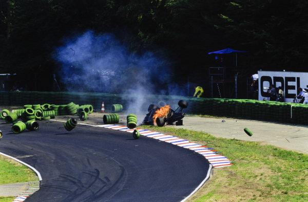 Érik Comas, Ligier JS35B Lamborghini, suffers a massive fiery accident.