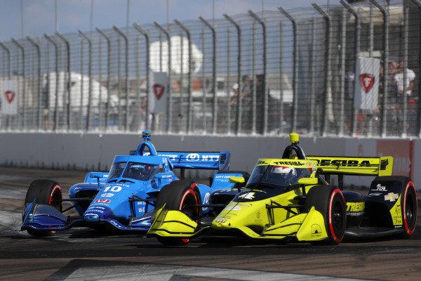 #4 Charlie Kimball, A.J. Foyt Enterprises Chevrolet,#10 Felix Rosenqvist, Chip Ganassi Racing Honda