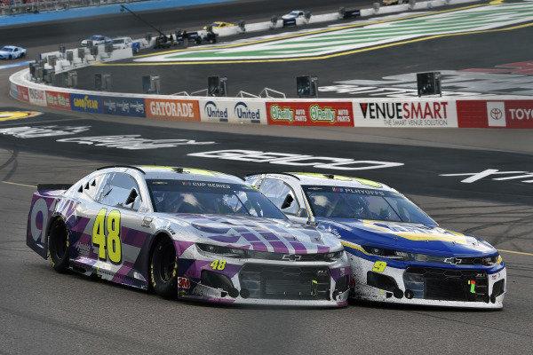 #9: Chase Elliott, Hendrick Motorsports, Chevrolet Camaro NAPA Auto Parts and #48: Jimmie Johnson, Hendrick Motorsports, Chevrolet Camaro Ally