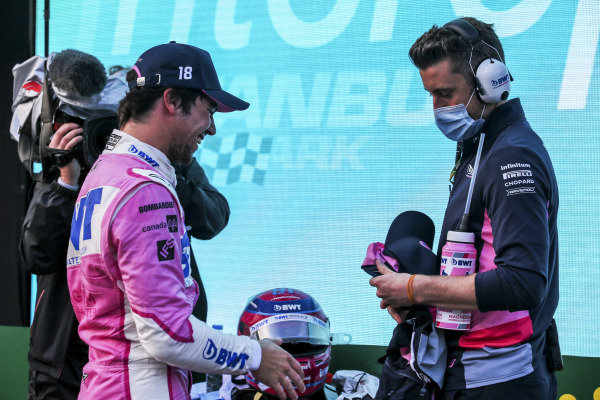 Pole Sitter Sergio Perez, Racing Point RP20 in Parc Ferme