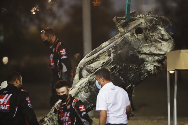 Michael Masi, Race Director, FIA, attends the scene of the huge crash for Romain Grosjean, Haas VF-20, on the opening lap