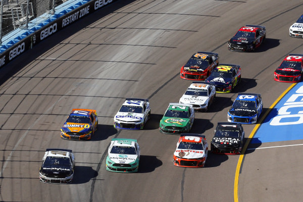 #10: Aric Almirola, Stewart-Haas Racing, Ford Mustang Smithfield, #12: Ryan Blaney, Team Penske, Ford Mustang MoneyLion and #9: Chase Elliott, Hendrick Motorsports, Chevrolet Camaro Hooters