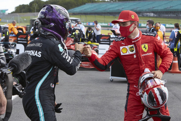 Winner Lewis Hamilton, Mercedes-AMG Petronas F1, is congratulated by Charles Leclerc, Ferrari in parc ferme
