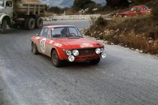 Monte Carlo, Monaco. 16th - 24th January 1970.Amilcare Ballestrieri/Daniele Audetto (Lancia Fulvia 1 6 Coupe HF), 6th position, action. World Copyright: LAT Photographic.Ref:  70MCRALLY09.