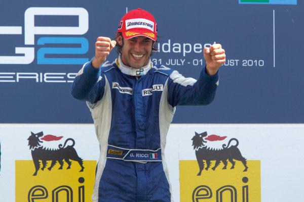 Hungaroring, Budapest, Hungary. 1st August.Sunday Race.Giacomo Ricci (ITA, DPR) celebrates his victory on the podium. Photo: Andrew Ferraro/GP2 Media Service.Ref: __Q0C7922 jpg