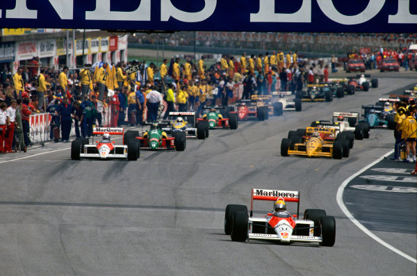 Imola, Italy. 29th April - 1st May 1988. Start of the parade lap, action. World Copyright: LAT Photographic Ref: 88SM04