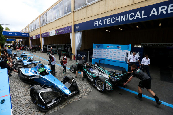 Car of Mitch Evans (NZL), Panasonic Jaguar Racing, Jaguar I-Type II, leaves the FIA Technical area.
