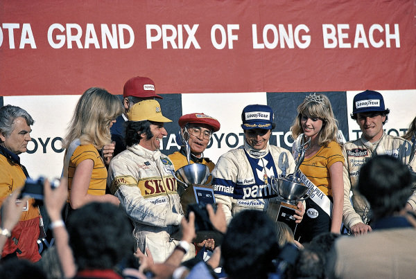 Winner Nelson Piquet with Emerson Fittipaldi (left) and Riccardo Patrese.