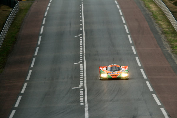 Circuit de La Sarthe, Le Mans, France. 5th - 12th June 2011.The 1991 Le Mans winning Mazda 787B is given a run around the circuit by Patrick Dempsey. Action Photo: Drew Gibson/LAT Photographic.  ref: Digital Image _Y2Z4717