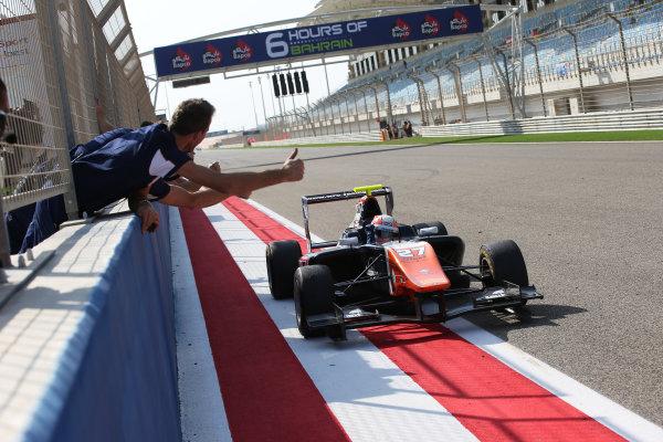 2015 GP3 Series Round 8. Bahrain International Circuit, Bahrain Saturday 21 November 2015. Luca Ghiotto (ITA, Trident), celebrates his win Photo: Jakob Ebrey/GP3 Series Media Service. ref: Digital Image AD8T9848