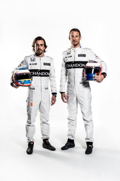 McLaren Honda MP4-31 Reveal. Woking, UK. Thursday 18 February 2016. Fernando Alonso, McLaren and Jenson Button, McLaren. Photo: McLaren (Copyright Free FOR EDITORIAL USE ONLY) ref: Digital Image Fernando Alonso & Jenson Button Portrait 2