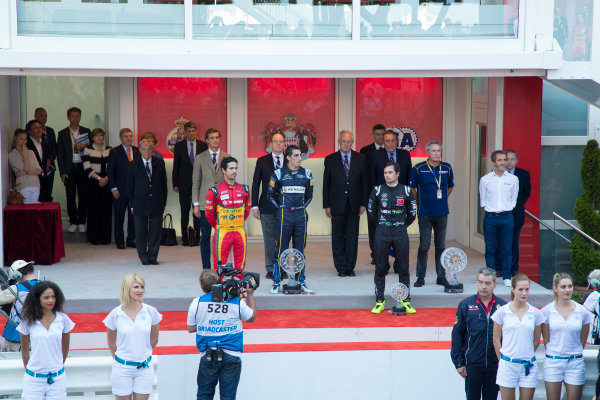 2014/2015 FIA Formula E Championship. Sebastien Buemi (SWI)/E.dams Renault - Spark-Renault SRT_01E Lucas di Grassi (BRA)/Audi Abt Sport - Spark-Renault SRT_01E Nelson Piquet Jr (BRA)/China Racing - Spark-Renault SRT_01E  Monaco ePrix Race. Monaco ePrix, Monte Carlo, Monaco, Europe. Saturday 9 May 2015  Photo: Adam Warner/LAT/Formula E ref: Digital Image _L5R1453