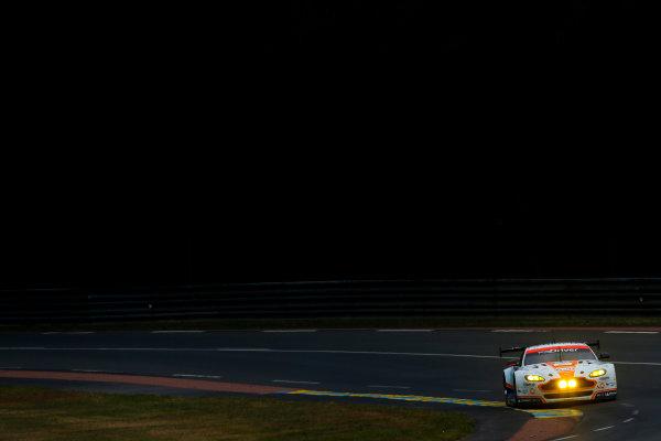 2015 Le Mans 24 Hours. Circuit de la Sarthe, Le Mans, France. Saturday 13 June 2015. Aston Martin Racing (Aston Martin Vantage V8 - GTE Pro), Marco Sorensen, Nicki Thiim, Christoffer Nygaard.  World Copyright: Zak Mauger/LAT Photographic. ref: Digital Image _L0U4812