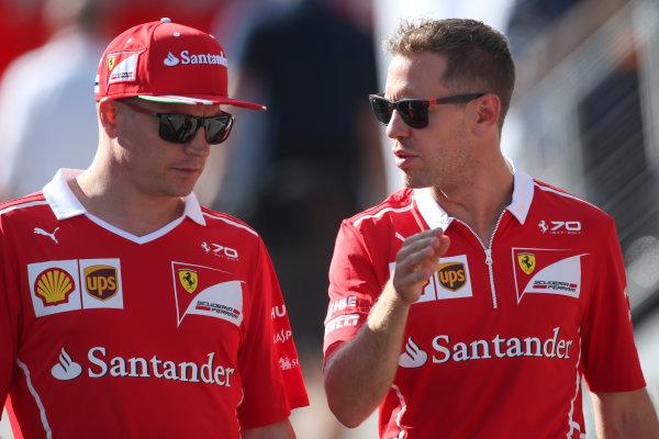 Hungaroring, Budapest, Hungary.  Friday 28 July 2017. Kimi Raikkonen, Ferrari, with Sebastian Vettel, Ferrari. World Copyright: Coates/LAT Images  ref: Digital Image AN7T1890