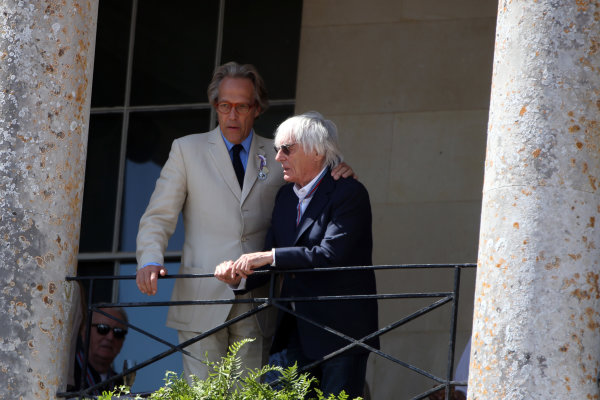 2017 Goodwood Festival of Speed. Goodwood Estate, West Sussex, England. 30th June - 2nd July 2017. Lord Charles March and Bernie Ecclestone  World Copyright : JEP/LAT Images