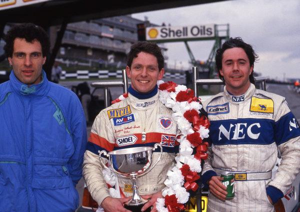 Results: 1st Andrew Gilbert-Scott (GBR) Eddie Jordan Racing, centre. 2nd Roland Ratzenberger (AUT) Spirit Motorsport, left. 3rd Gary Brabham (AUS) Bromley Motorsport. British Formula 3000 Championship, Rd1, Brands Hatch, England, 19 March 1989.