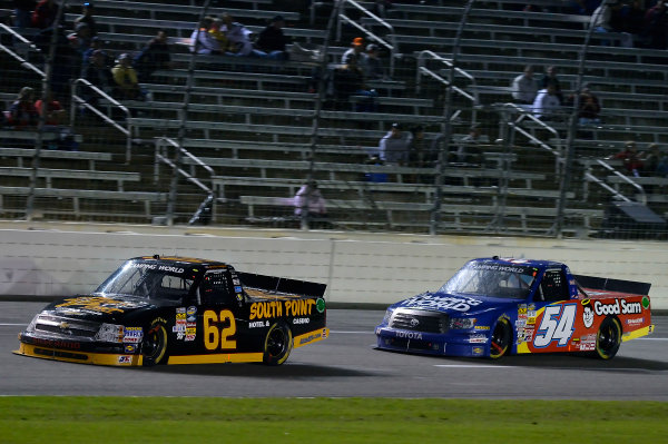 October 31-November 01, 2013, Fort Worth, Texas USA Brendan Gaughan and Darrell Wallace Jr trucks © 2013, Brian Czobat LAT Photo USA