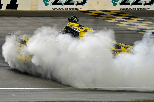 September 13, 2013, Joliet, Illinois  USA Kyle Busch does his Victory Burnout. © 2013, Brian Czobat LAT Photo USA